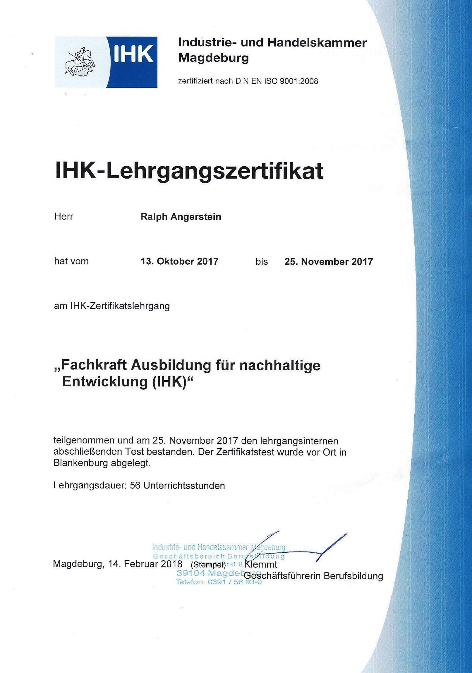 IHK-Zertifikat Fachkraft Ausbildung für nachhaltige Entwicklung
